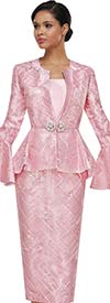 Serafina 4016 Womens Lace Skirt Suit With Peplum Flounce Sleeve Jacket