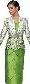 Serafina 4021 Womens Suit With Zig-Zag Patten Jacket And Layered Design Skirt