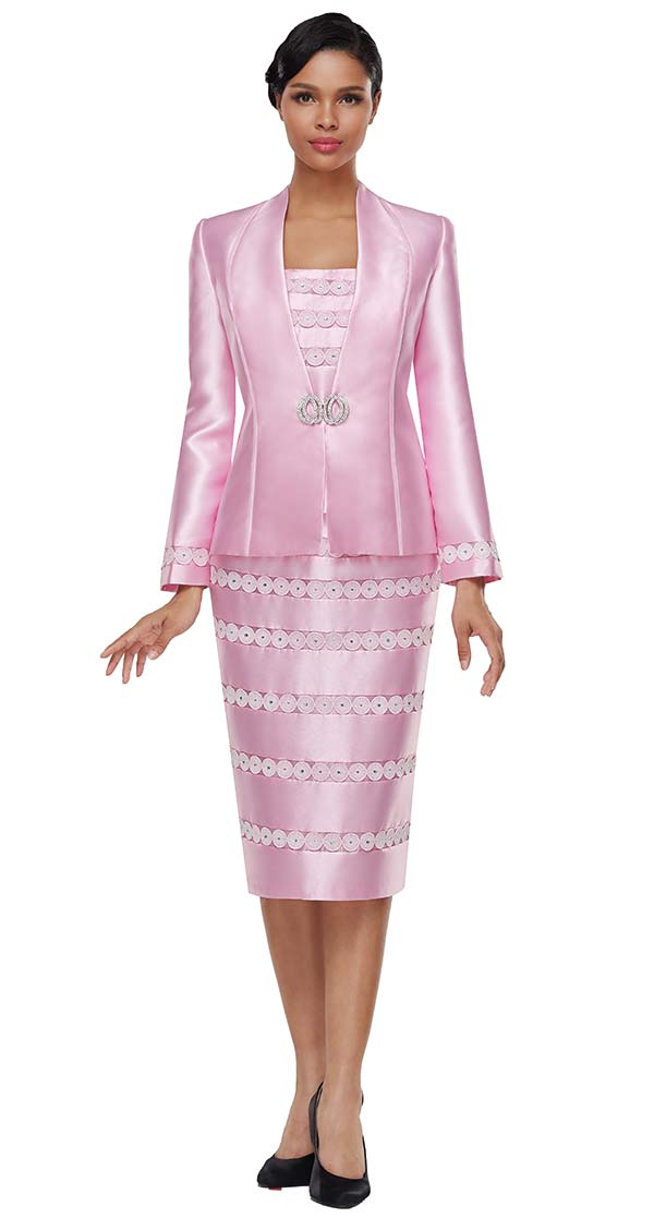 Serafina 4022 Womens Skirt Suit With In-Line Circle Pattern Applique Design