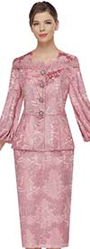 Serafina 4024 Floral Pattern Skirt Suit With Feather Detail And Bishop Style Sleeves