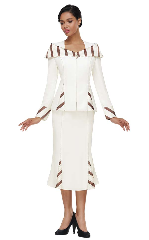 Serafina 4026-Ivory - Striped Detail Womens Godet Skirt Suit With Portrait Style Collar Jacket