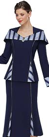 Serafina 4026-Navy - Striped Detail Womens Godet Skirt Suit With Portrait Style Collar Jacket