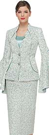 Serafina 4030 Wide Bell Sleeve Skirt Suit In Novelty Brocade Fabric