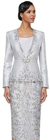 Serafina 4033 Womens Silky Lace Church Suit With Embellished Accent Details