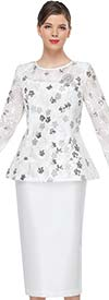Serafina 4035 Floral Detail Lace Peplum Bell Sleeve Jacket And Silky Fabric Skirt Suit
