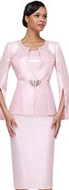 Serafina 4037 Womens Skirt Suit With Embellished Split Sleeve Style Jacket