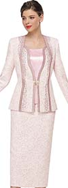 Serafina 4039-Rose - Skirt Suit With Rhinestone Embellished Jacket In Multi Size Orb Pattern Design