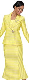 Serafina 4040 Ladies Flared Skirt Suit With Striped Detail