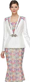 Serafina 4041 Womens Suit With Multi Color Star Pattern Flared Skirt With Matching Jacket Details