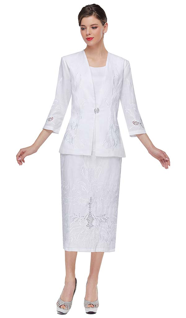 Serafina 4456 Linen Skirt Suit With Cut-Out And Embroidered Design