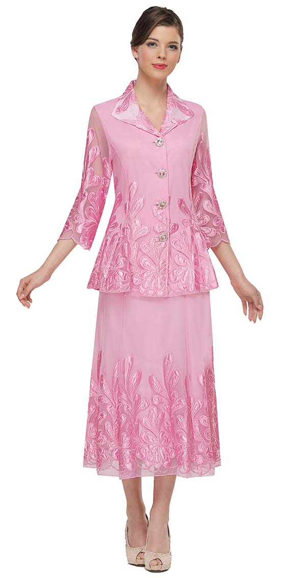 Serafina 522 Wing Collar Skirt Suit With Embroidered Mesh Design