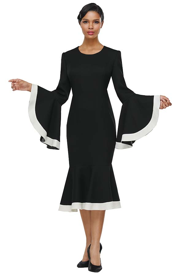Serafina 6204 Flounce Hemline And Sleeve Dress With Contrasting Trim And Jewel Neckline