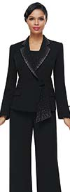 Serafina 7457 Womens Three Piece Pant Suit With Embellished Cascading Notch Lapel Jacket