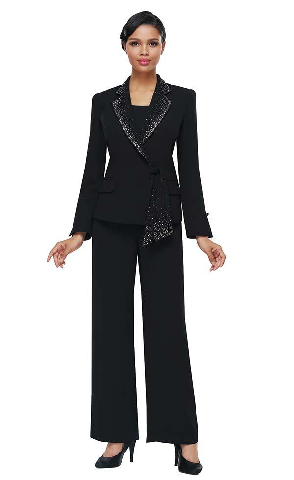 Serafina 7457 Womens Three Piece Pant Suit With Embellished Cascading Notch Lapel Jacket