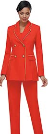 Serafina 7467 Womens Pant Suit With Rounded Lapel Double Breasted Jacket