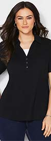 Catherines T80377W-Black - Short Sleeve Womens Polo Style Top With Underlay