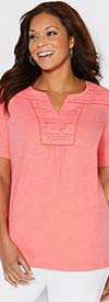 Catherines T80380W-Coral - Womens Short Sleeve Top With Lace Neckline Detail