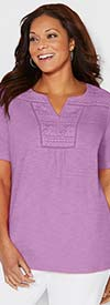 Catherines T80380W-Purple - Womens Short Sleeve Top With Lace Neckline Detail