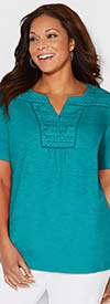 Catherines T80380W-Green - Womens Short Sleeve Top With Lace Neckline Detail
