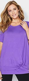 Catherines T80482W-Purple - Short Sleeve Womens Knit Top With Knotted Waist Detail