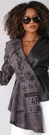 For Her 81840-Grey/Black - Womens Faux Leather & Print Asymmetric Peplum Top