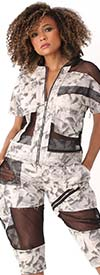 For Her 81911 Womens Short Sleeve Jacket Top In Tye-Dye Design With Mesh Insets