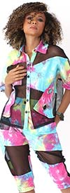 For Her 81913 Womens Short Sleeve Top In Tye-Dye Design With Mesh Insets
