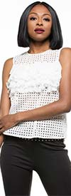 Why Dress-T180538 - Womens Ruffle Accented Sheer Design Sleeveless Top