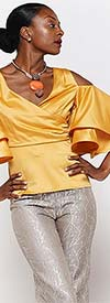 Why Dress T181130 - Tiered Bell Sleeve Womens Tiered Top With Cold-Shoulder Design