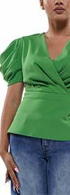 Why Dress-T190526-Green - Puffed Sleeve Womens Surplice Neckline Top