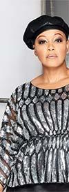 Why Dress T190938- Sheer Sleeve Womens Elastic Waist Peplum Top With Sequin Design