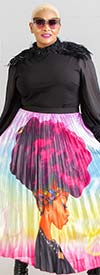 For Her 81555 - Womens Elastic Waist Pleated Skirt With Face Print Design