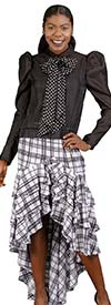 For Her 8534-White/Black - Ruffled High-Low Skirt In Plaid Pattern Design
