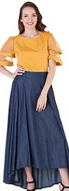 For Her 8667 - Womens High-Low Design Denim Skirt
