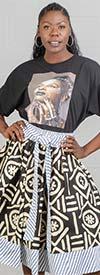 KaraChic 518-Black/OffWhite - Ladies Striped Trim Print Skirt With Sash