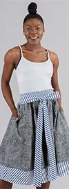 KaraChic 518 - Ladies Striped Trim Print Skirt With Sash