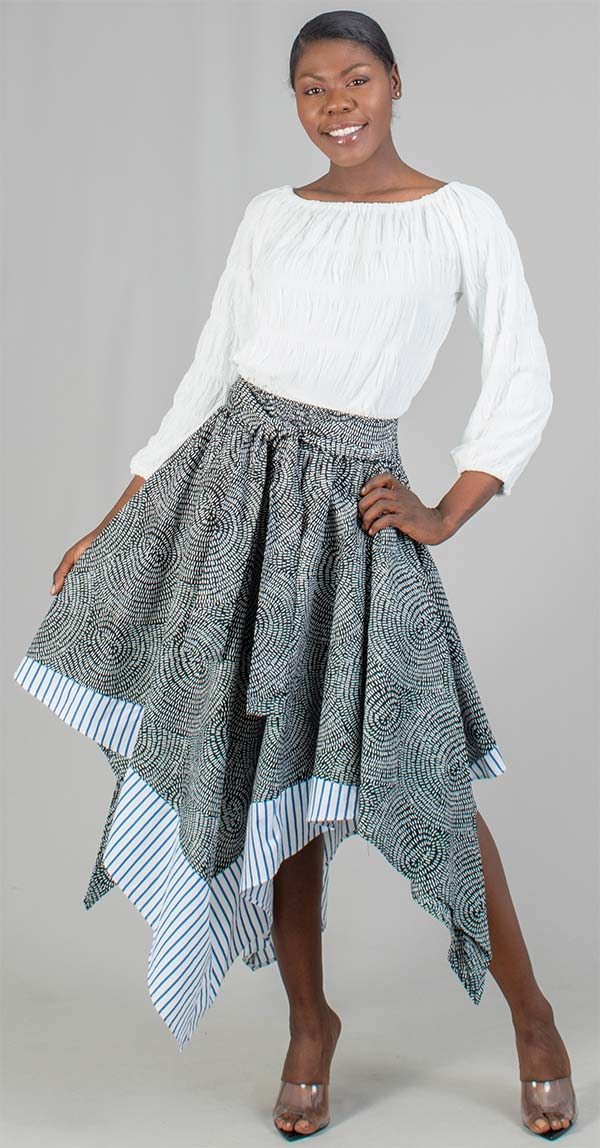 KaraChic 519 - Womens Striped Trim Print Asymmetrical Skirt With Sash