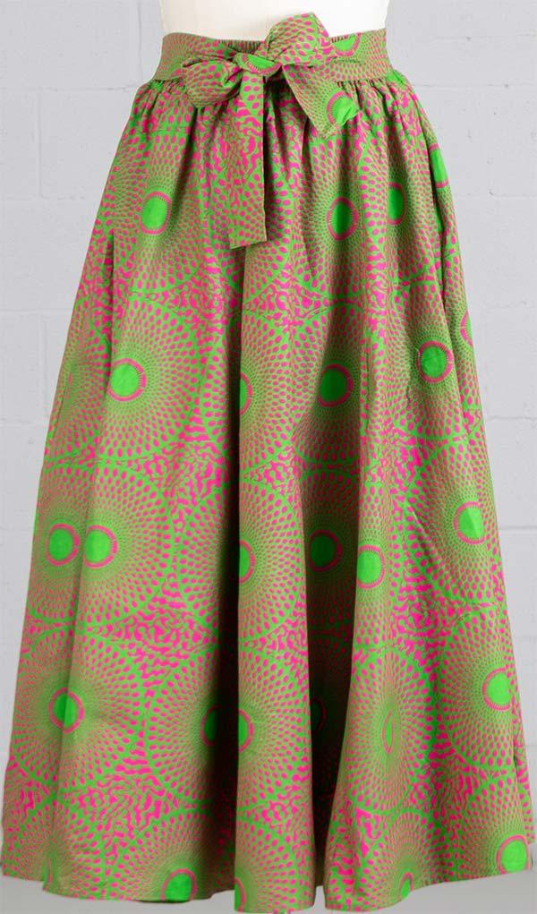 KaraChic 7001-GreenPink - Womens African Print Maxi (Long) Skirt With Elastic Waist & Sash