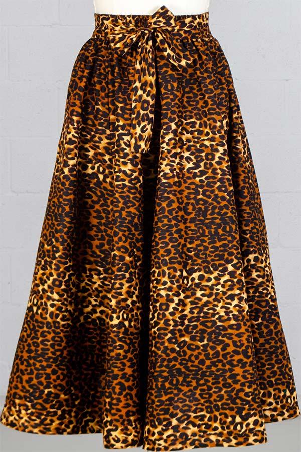 KaraChic 7001-254 - Womens Leopard Print Maxi (Long) Skirt With Elastic Waist & Sash