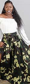 KaraChic 7001-340A - Womens Camo Print Maxi (Long) Skirt With Elastic Waist & Sash