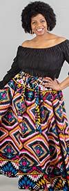 KaraChic 7001-517 - Womens Multi Print Maxi (Long) Skirt With Elastic Waist & Sash