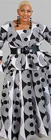 KaraChic 7001-Black / White 521 - Womens African Print Maxi (Long) Skirt With Elastic Waist & Sash
