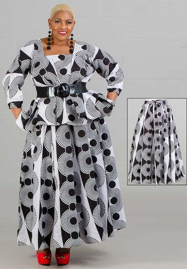 KaraChic 7001-Black / White 521 - Womens African Print Maxi (Long) Skirt With Elastic Waist & Sash
