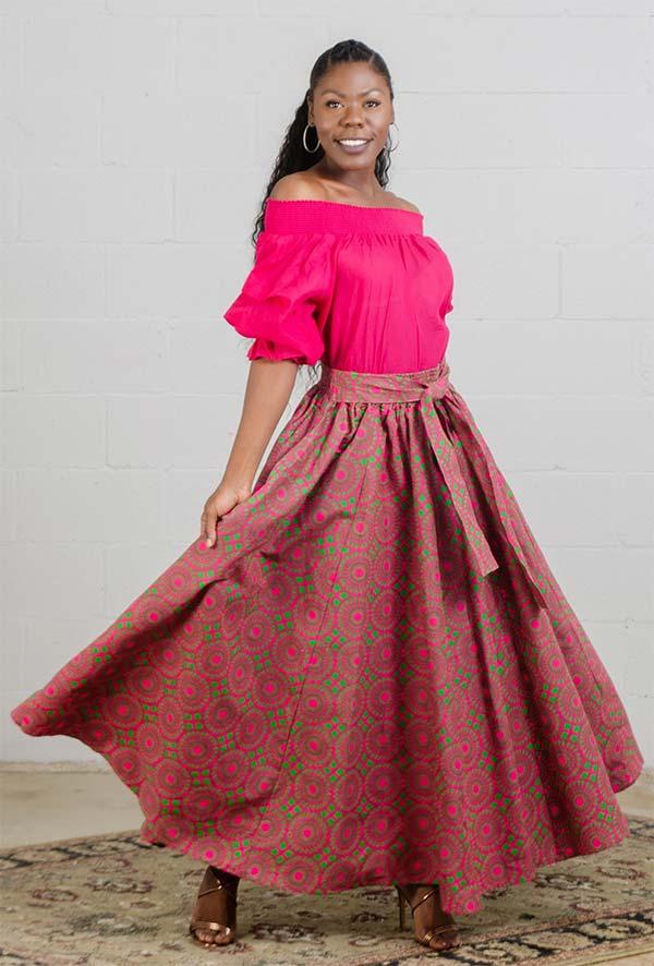 KaraChic 7001-522-Red/Pink - Womens African Print Maxi (Long) Skirt With Elastic Waist & Sash