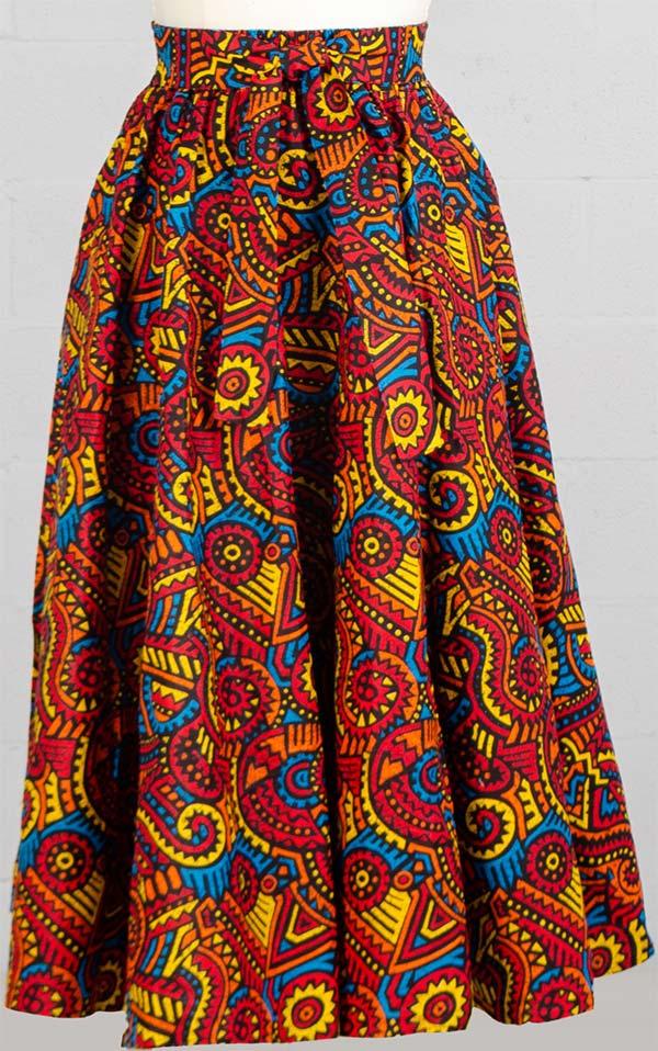 KaraChic 7001-Orange Multi 529 - Womens African Print Maxi (Long) Skirt With Elastic Waist & Sash
