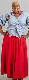 KaraChic 7001S-Red - Elastic Waist Skirt