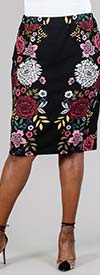 Melissa Paige MPF47441 Womens Floral Print Stretch Fabric Pencil Style Skirt