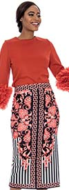 Raquel 2106-Coral - Womens Floral Striped Design Skirt