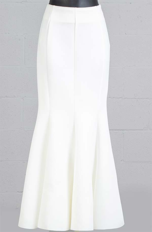 Why Dress - S170247B-Ivory - Womens Mermaid Style Scuba Skirt