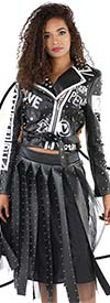 For Her 81528 - Womens Studded Box Fringe Faux Leather & Tulle Design Skirt With Side Zip